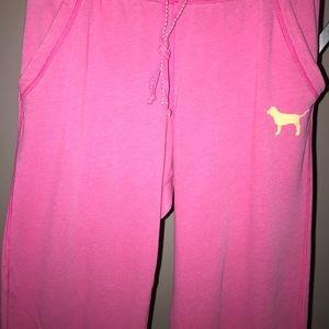 VS Pink Boyfriend Pink/Orange Sweat Pants EUC